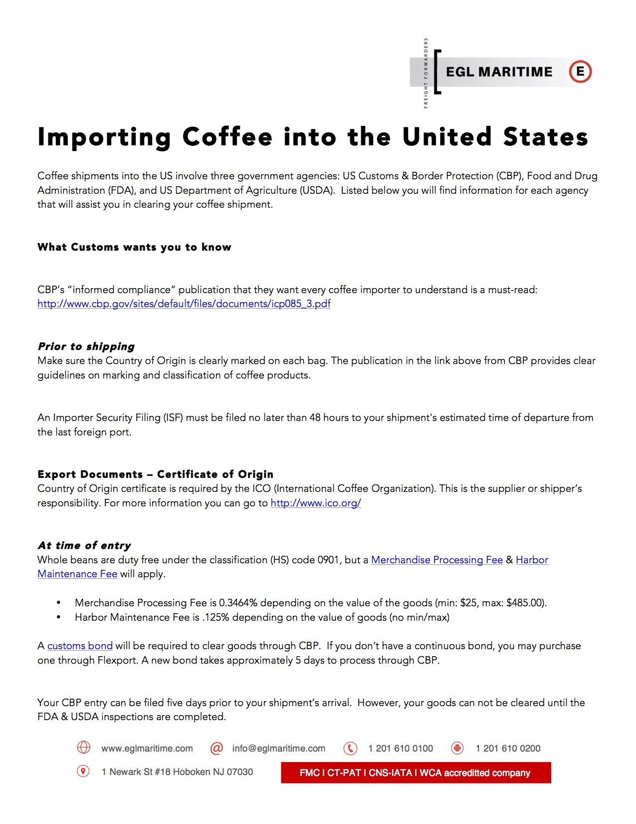 Coffee Import Guidelines - Our Blog - EGL Maritime